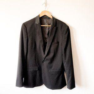 H&M Black Faux Leather Trim Collar Blazer Sz 42